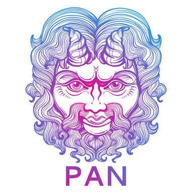 Pan. The god of fertility and wildlife. Ancient Greek mask. High-detailed decorative vector illustration isolated. Myths and legends. Ancient ethnic symbol, tattoo design, print, t-shirt, textile.