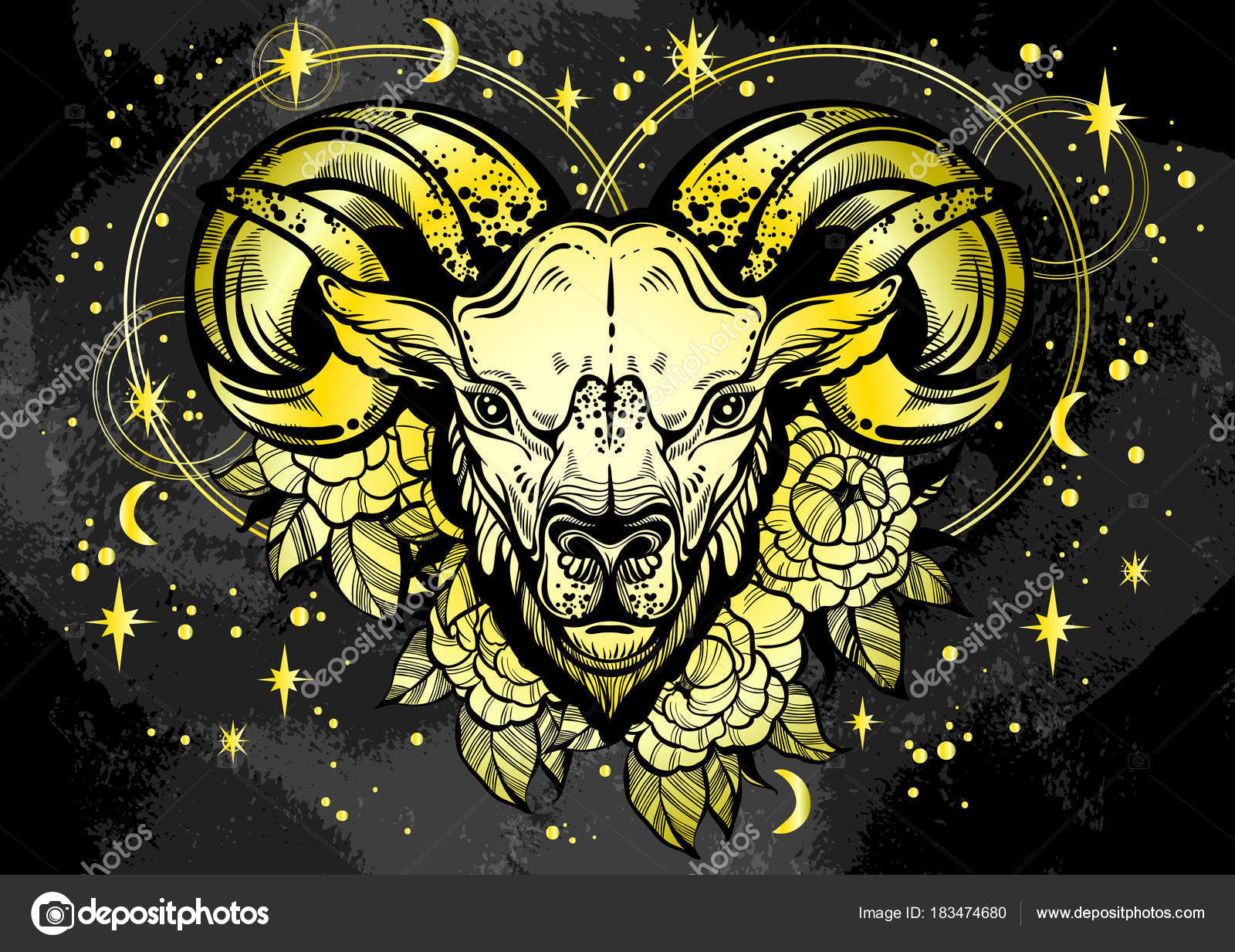 f48addb10 Hand-drawn beautiful artwork of a ram with peony flowers and astrology  signs around.