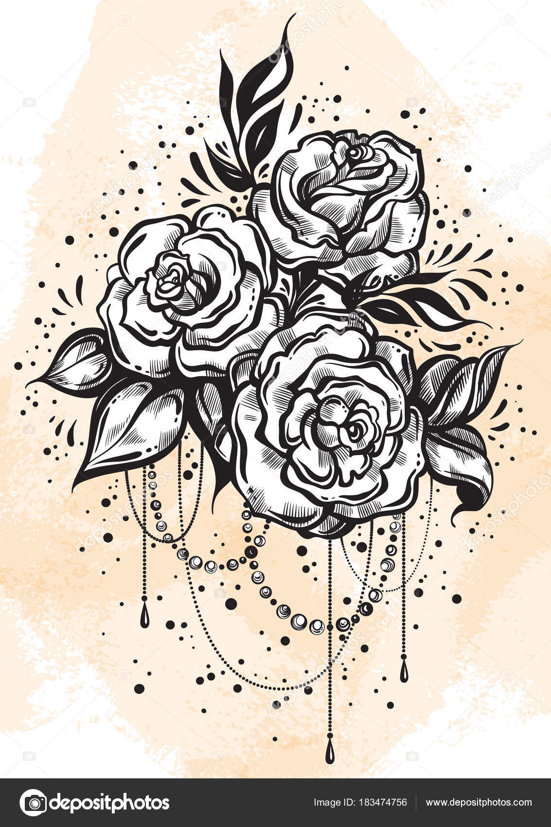 Hand Drawn Beautiful Roses In Linear Style Tattoo Art Graphic