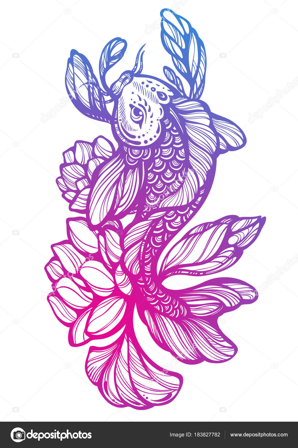 ba00572fa7619 High-detailed beautiful illustration of Koi carp fish with Lotus around.  Oriental decorative symbol. Hand-drawn vector artwork isolated. Tattoo art.