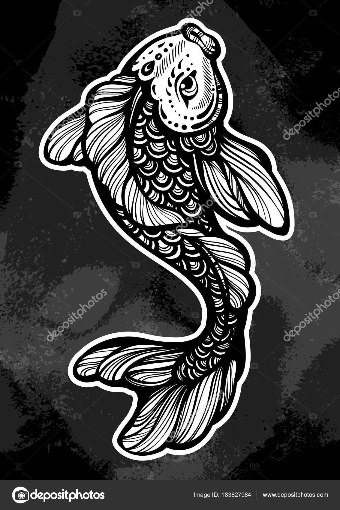Beautifuliy Podrobne Ilustrace Ryb Koi Kapr Symbol Stesti A