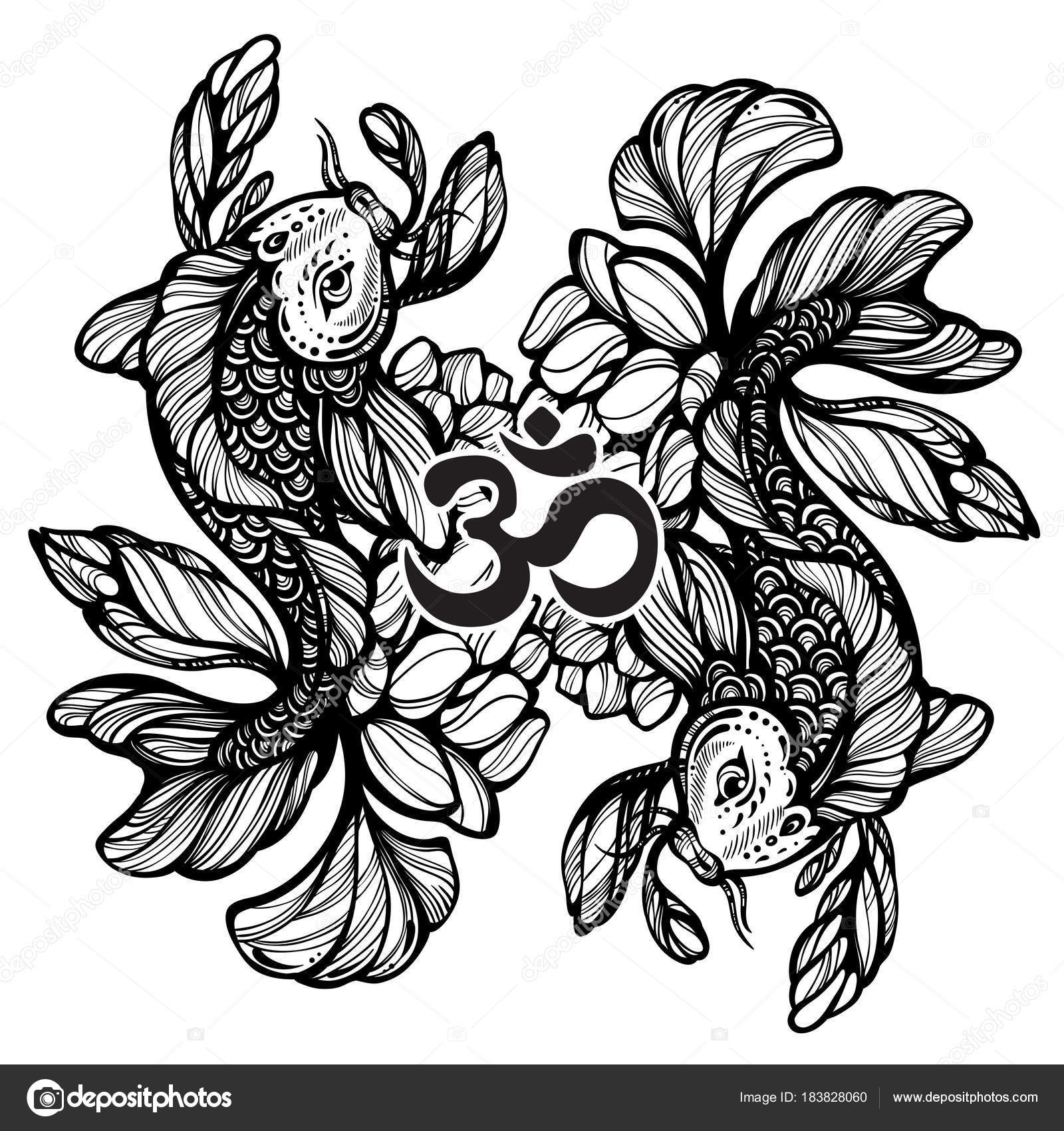 2092dba7af7f0 Beautiful hand-drawn oriental illustration of Koi carp fish with Lotus  flower around. High-detailed graphic linework symbol of wisdom.