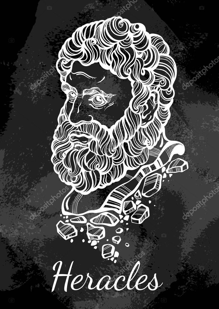 Heracles The Mythological Hero Of Ancient Greece Hand Drawn Beautiful Vector Artwork Over The Blackboard Vintage Chalk Myths And Legends Tattoo Art Prints Posters Cards Premium Vector In Adobe Illustrator Ai