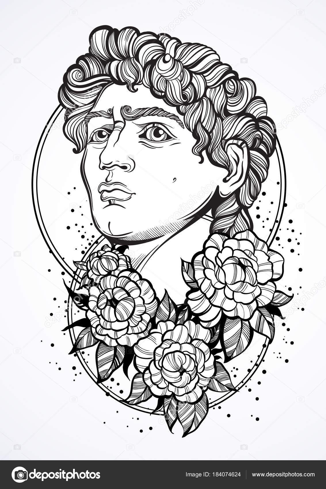 Dessines A La Main Beau Portrait De David Avec Des Fleurs De Pivoine