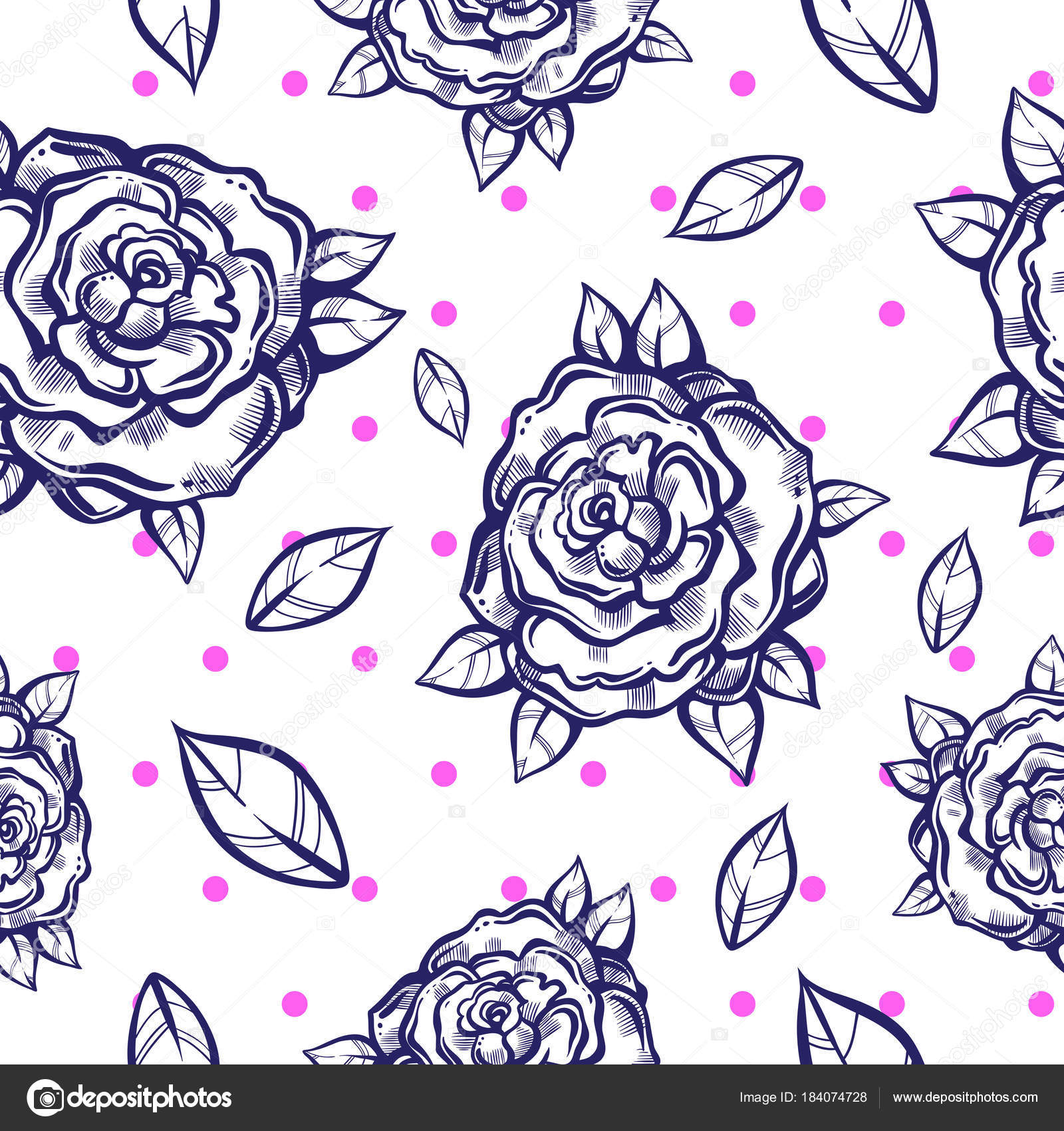 Beautiful Vintage Seamless Pattern With Gothic Roses In Linear Style Black And White Retro Illustration
