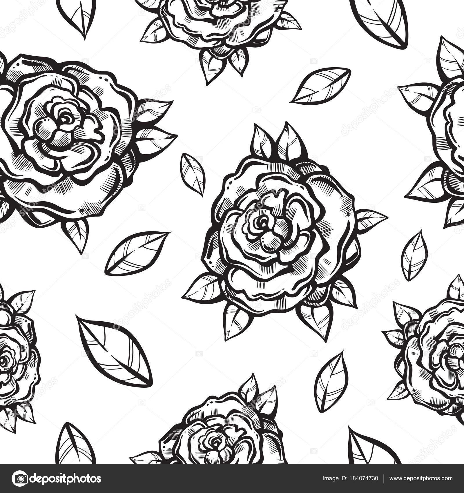 Piękny Wzór Vintage Bezszwowe Z Gotyckiej Róże W Stylu