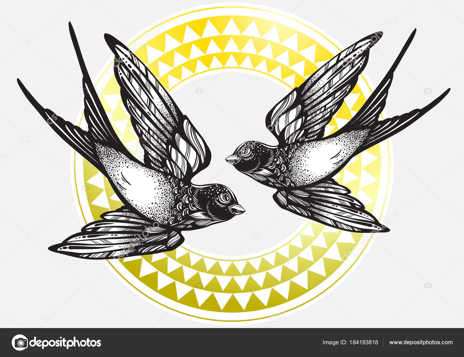 faee0c7cef770 Beautifully detailed vintage illustration with flying swallow birds over  tribal geometric pattern. Vector artwork isolated. Elegant tattoo art,  freedom, ...