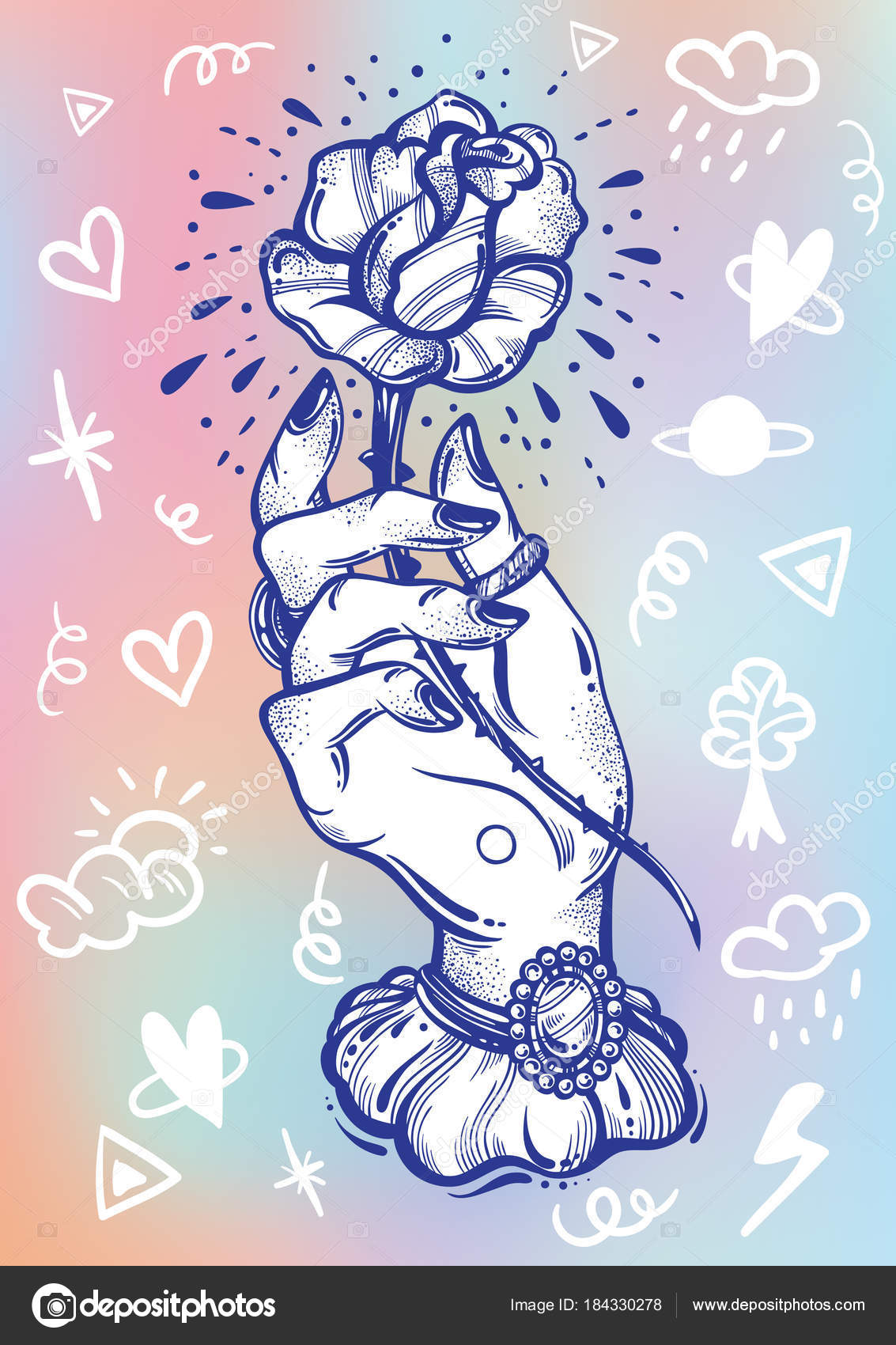 Flash Doodle Blackwork Tatuaje Flash Mano De Mujer Vintage Flor