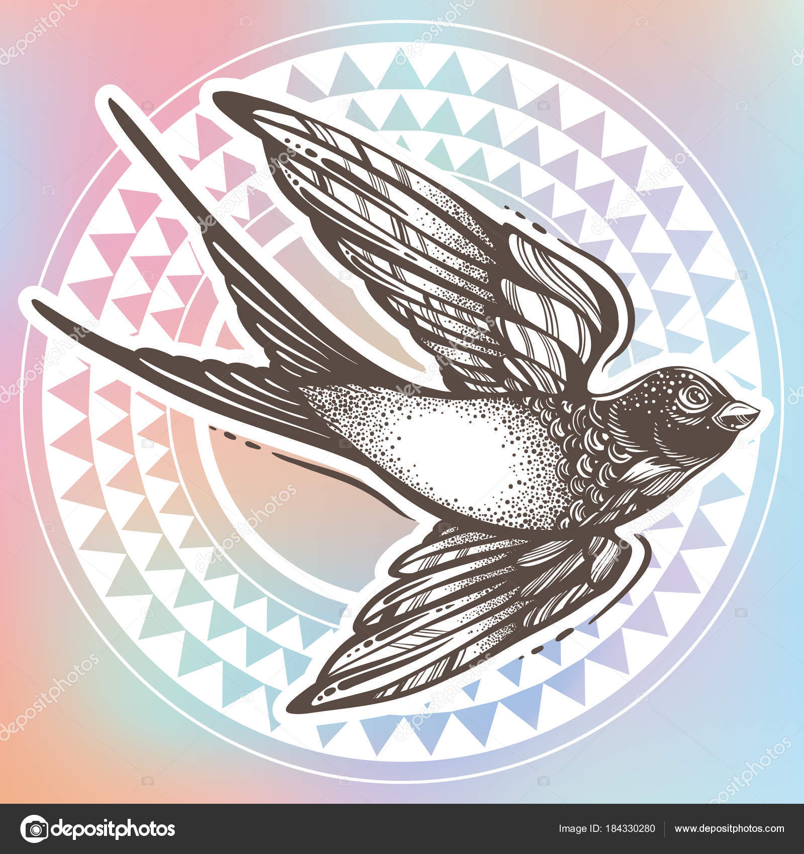 c1107c630deb7 Beautifully detailed vintage illustration with flying swallow bird over  tribal geometric pattern. Vector artwork isolated. Elegant tattoo art,  freedom, ...