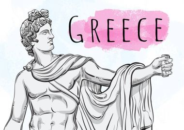 God Apollon. The mythological hero of ancient Greece. National treasure. Antiquity. Hand-drawn beautiful vector artwork isolated. Myths and legends. Ancient art, prints, posters, cards. �