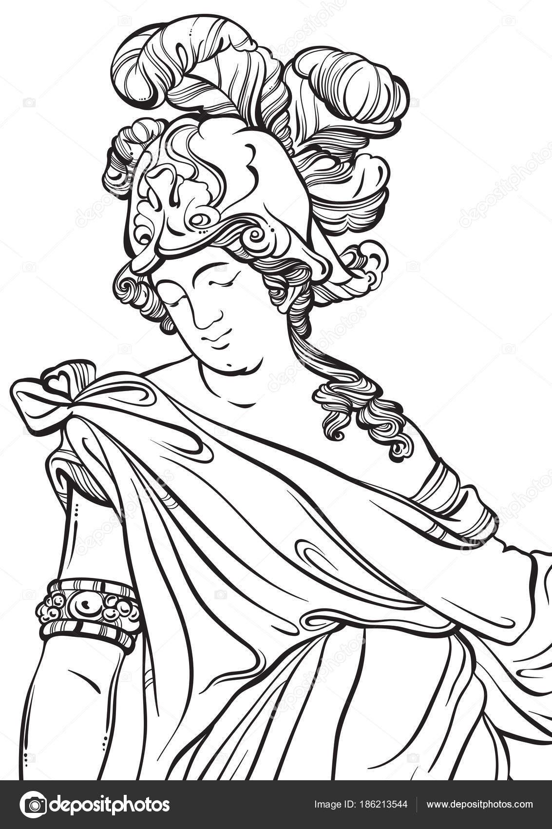 Dios griego en estilo de línea. Gran plantilla de página de libro ...