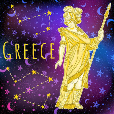 Beautiful Greek God on space background. The mythological heroine of ancient Greece. Outer space vector illustration. Zodiac, sign, symbol, magic print and poster.�