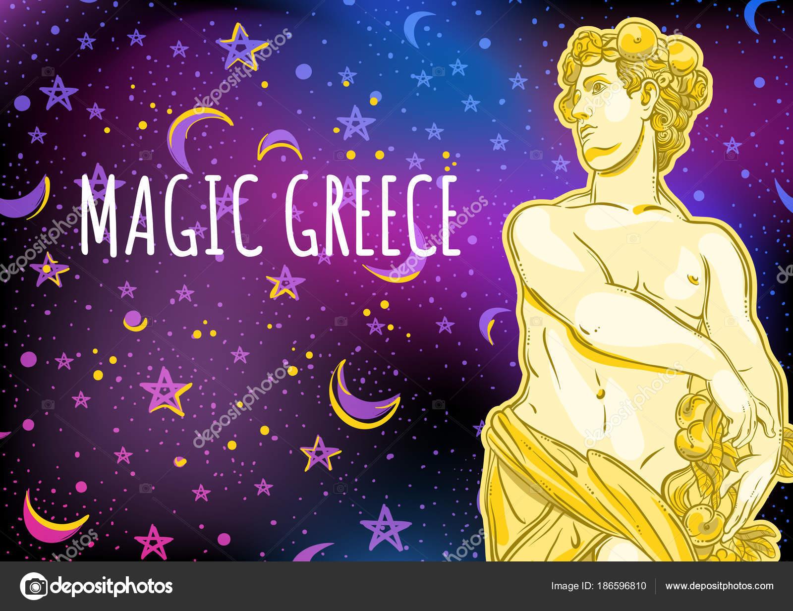 Beautiful Greek God On Magical Space Background The Mythological