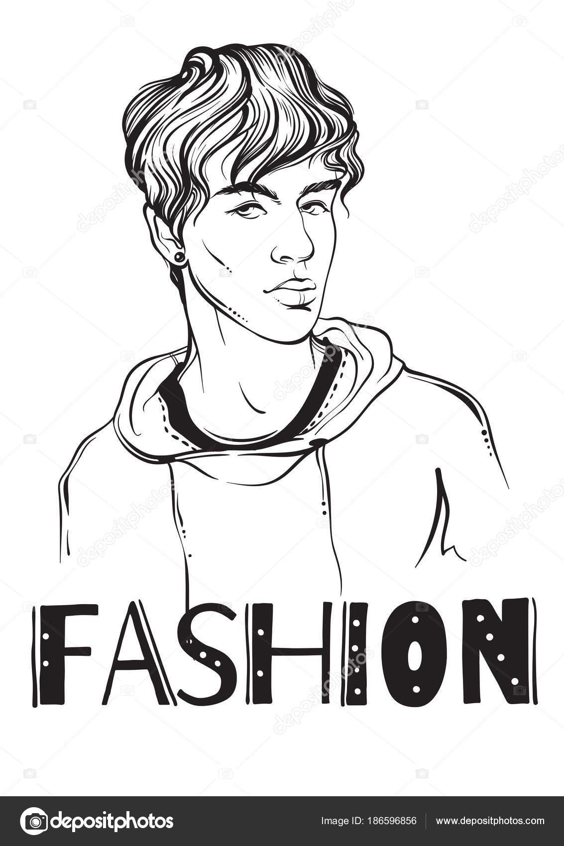 Ilustración de vector de moda hombre. Hipster. Moda de la calle ...