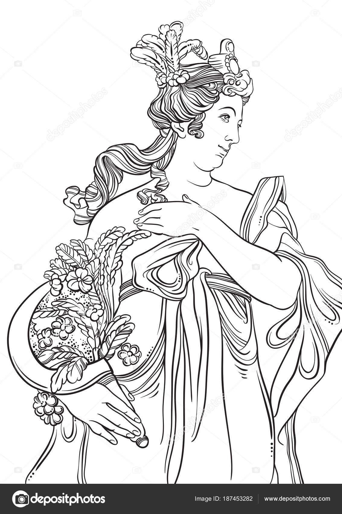 Diosa del griego en estilo de línea. Gran plantilla de página de ...