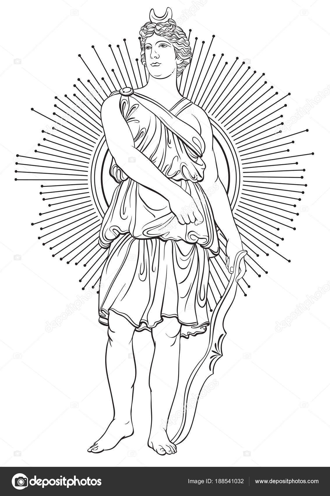 Diosa griega de la guerra con arco de flechas. Arte popular en ...