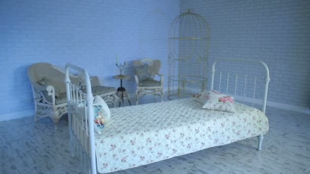 Empty Bed at room with blue light