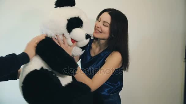 Woman received a teddy bear