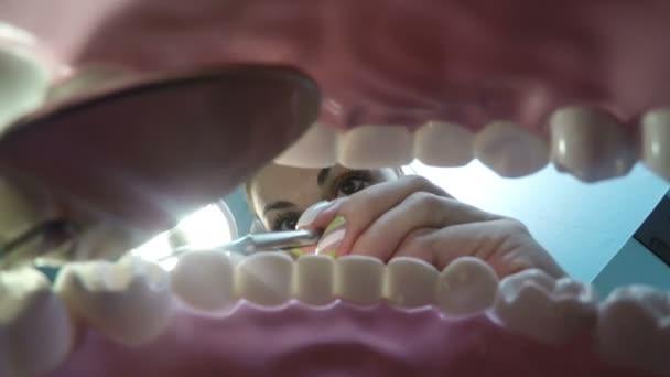 Pohled z úst u zubaře