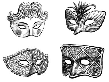 sketches of the carnival venetian masks