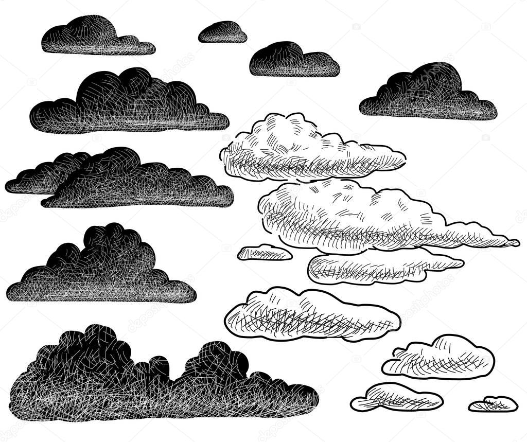 hand drawings of the clouds