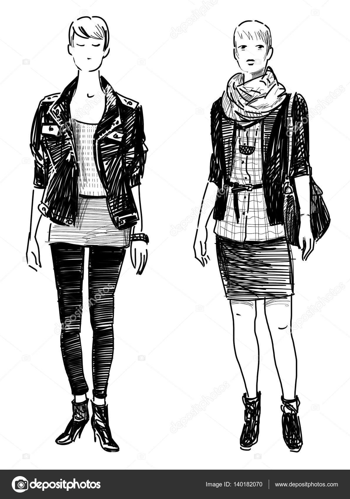 Dibujos A Mano De Chicas Dibujo De La Mano De Las Mujeres De