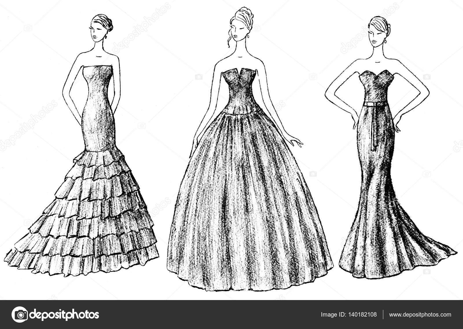 Croquis des femmes dans les robes de soirée \u2014 Photographie