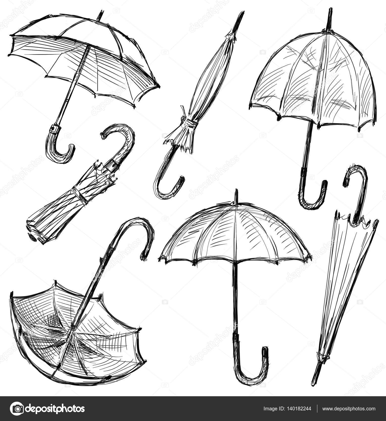 Sketches of the umbrellas stock photo