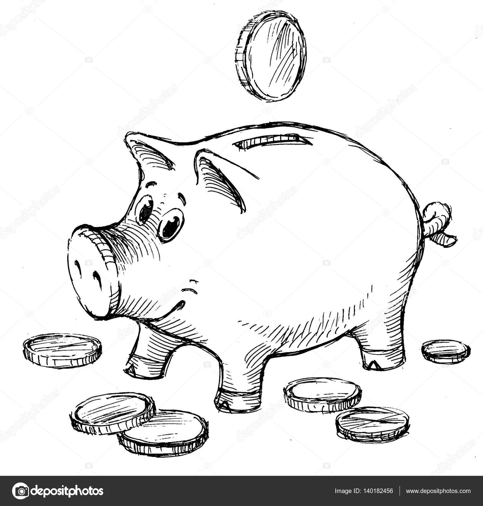 Line Drawing Piggy Bank : Sketch of a piggy bank with coins — stock photo
