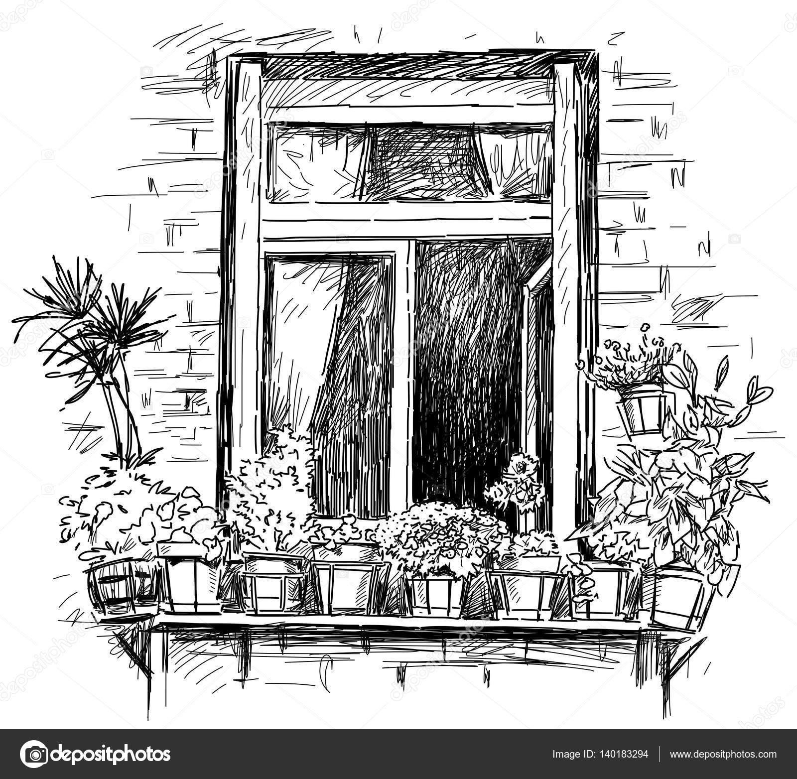 Dessin à Main Dune Fenêtre Avec Les Fleurs Photographie Mubaister