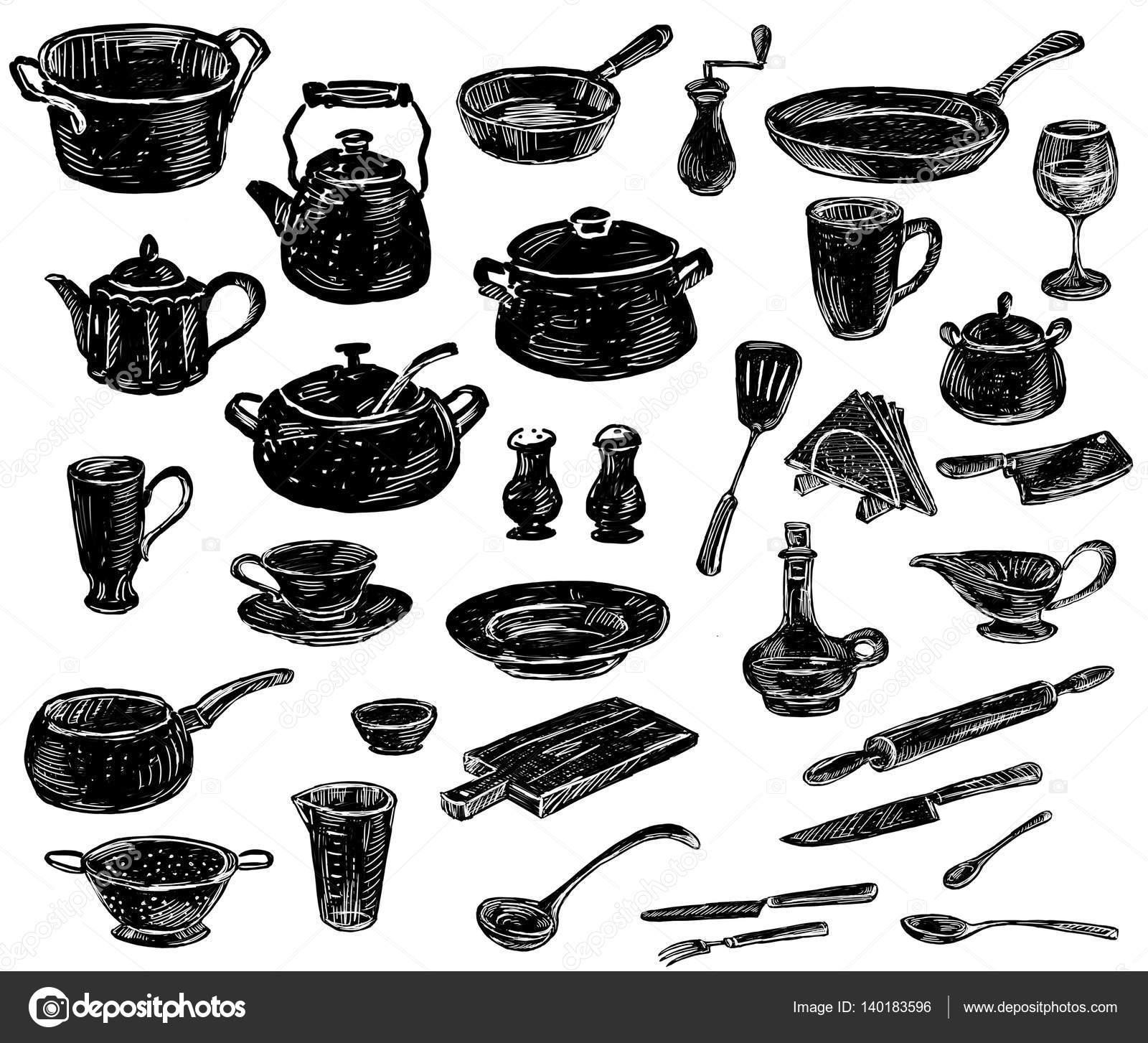 disegni a mano delle sagome utensili da cucina — Foto Stock ...