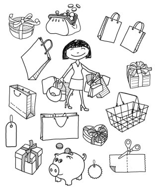 sketches of the shopping pictures