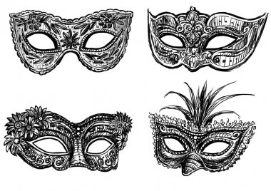 sketches of the old masquerade masks