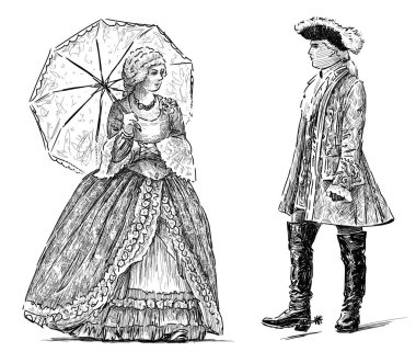sketch of the couple in the vintage costumes