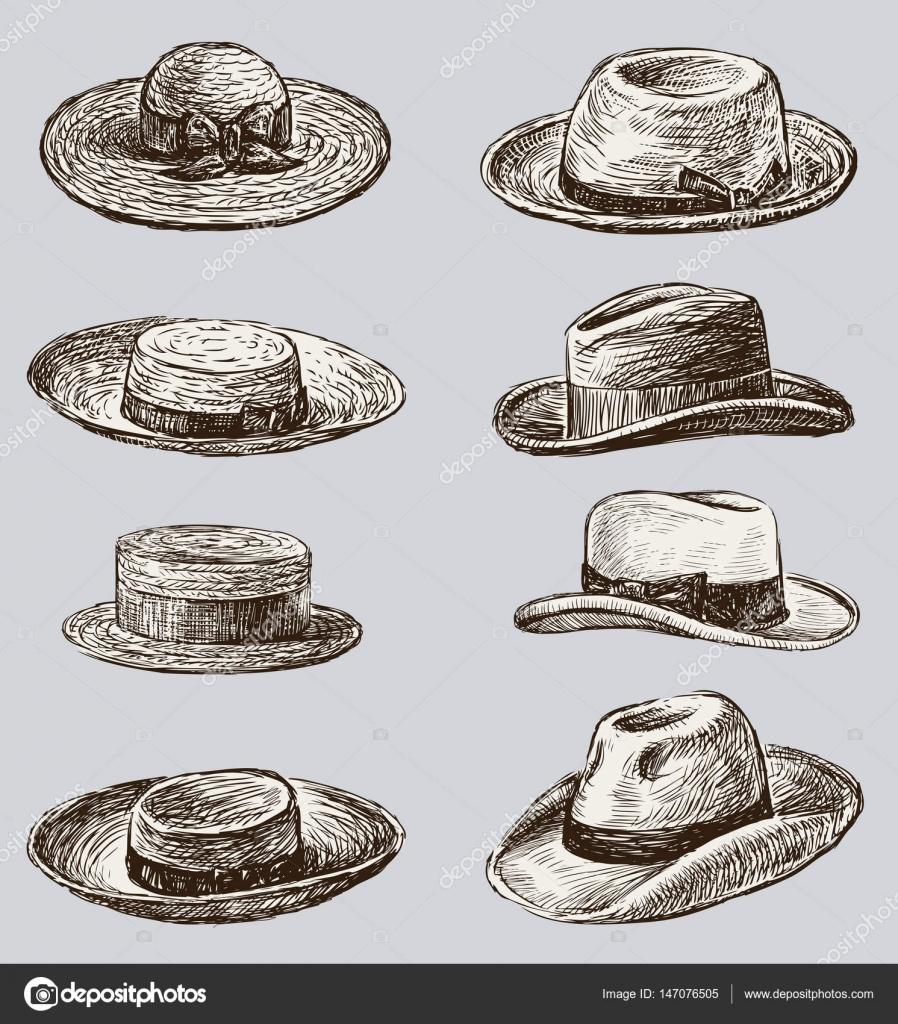 Colección de los sombreros masculinos y femeninos — Archivo Imágenes ... bae04601d6c