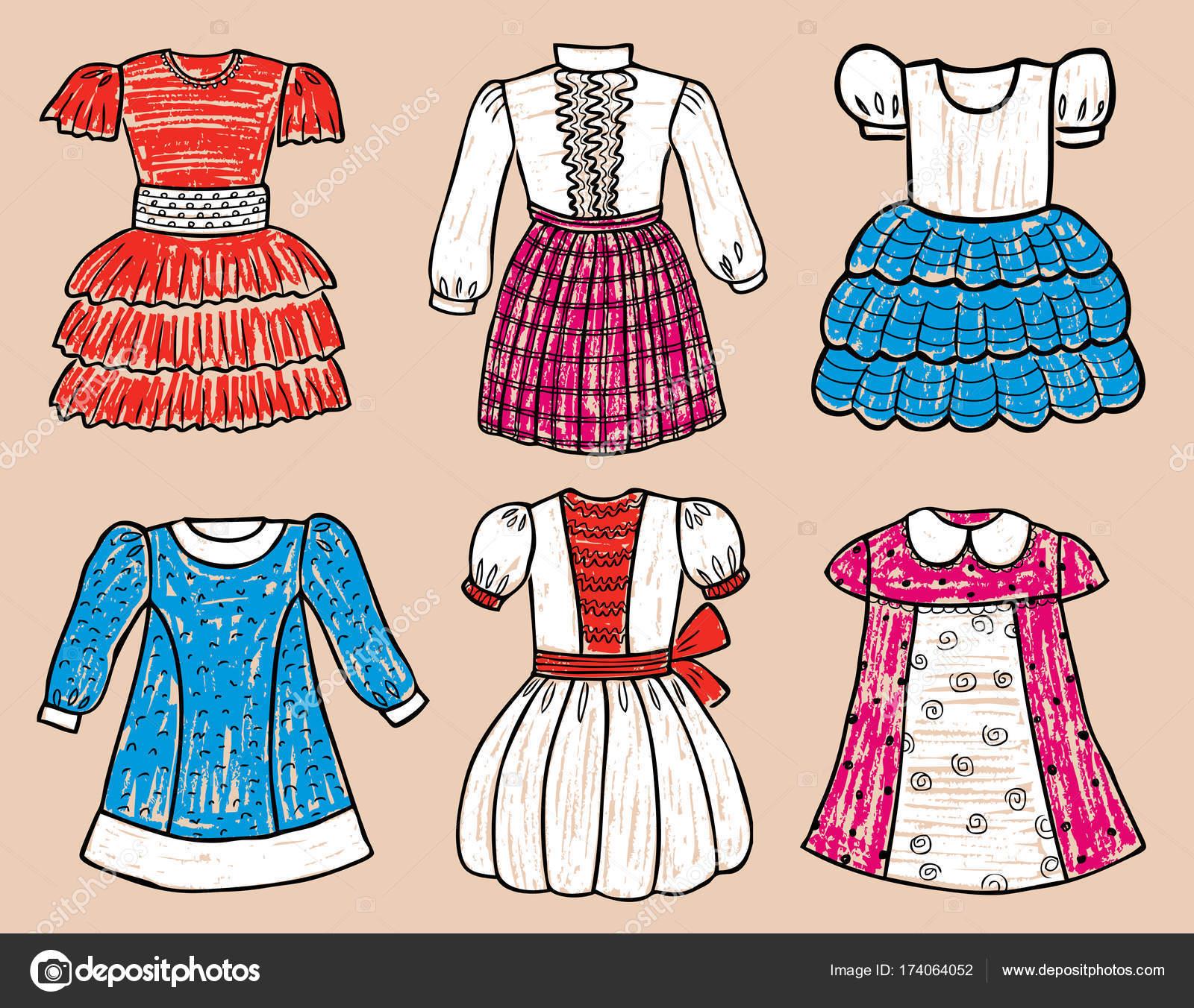 08dc45b7a Vestidos elegantes para niña — Archivo Imágenes Vectoriales ...