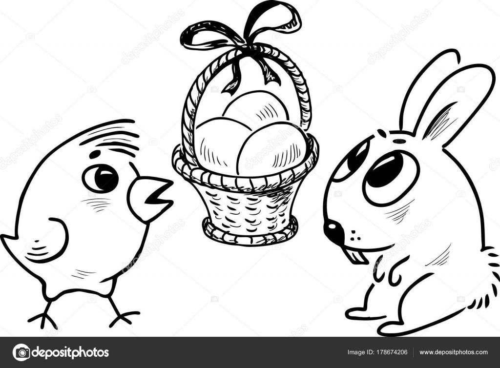 Conejos recien nacidos para colorear   Canasta Pascua Con Huevos ...