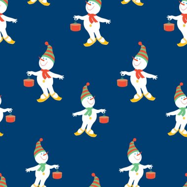 Seamless pattern of christmas cheerful snowmen with gifts stock vector