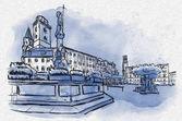 Fotografie Zittau mit Rathaus