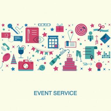 Flat design event marketing concept.