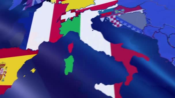 Luxembourg. Map over Europe. Motion Graphics