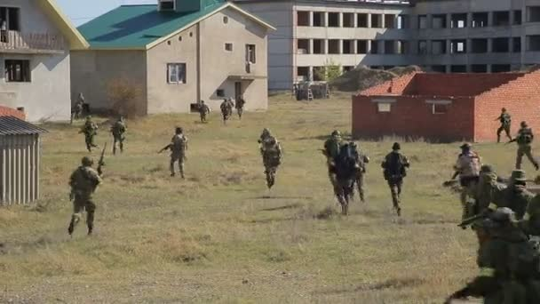 Running soldiers. Infantry atack. Airsoft