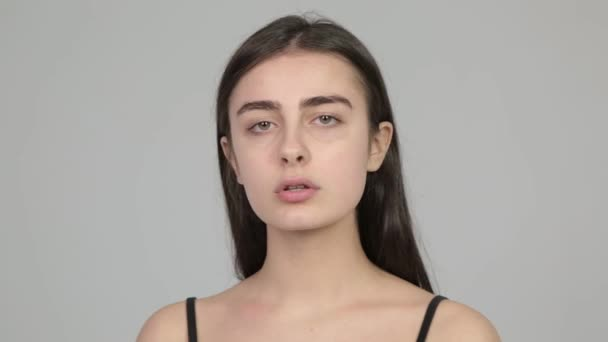 Girl shows different facial expressions and emotions