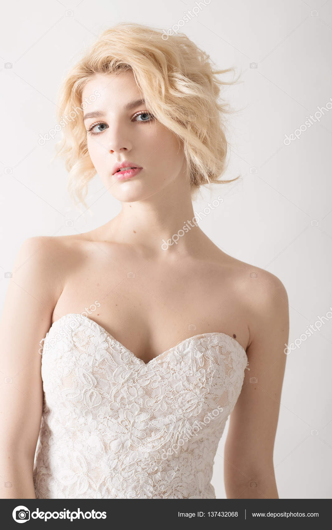 Blonde Hair Blue Eyes Makeup Woman With White Hair In A