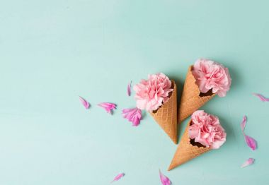Pink flowers in waffle cones