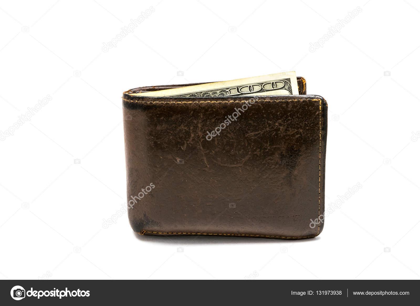 Vieux porte-monnaie en cuir brun avec billet