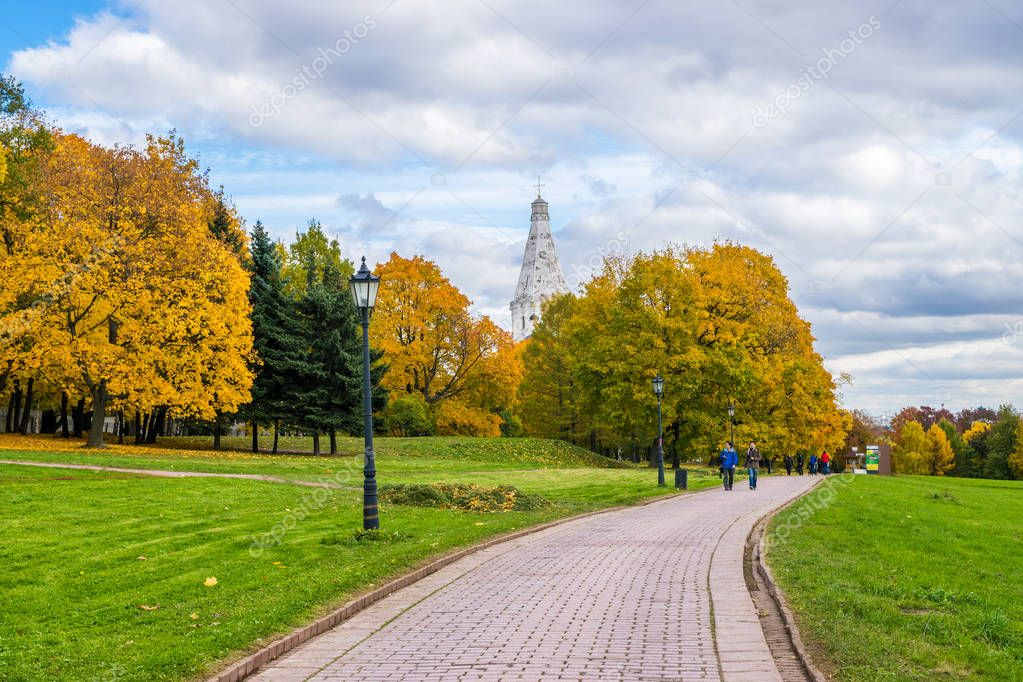 An autumn view of The Church of the Ascension in Kolomenskoye, Moscow.
