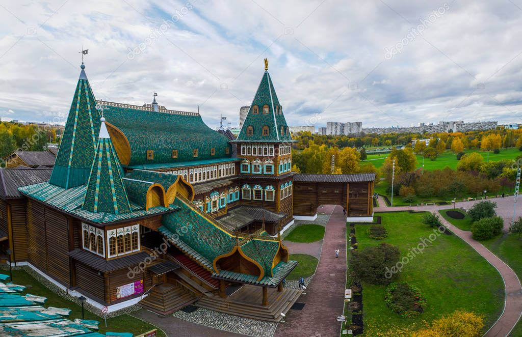 View of Tzar's Wooden Palace in Kolomenskoye from the observation deck