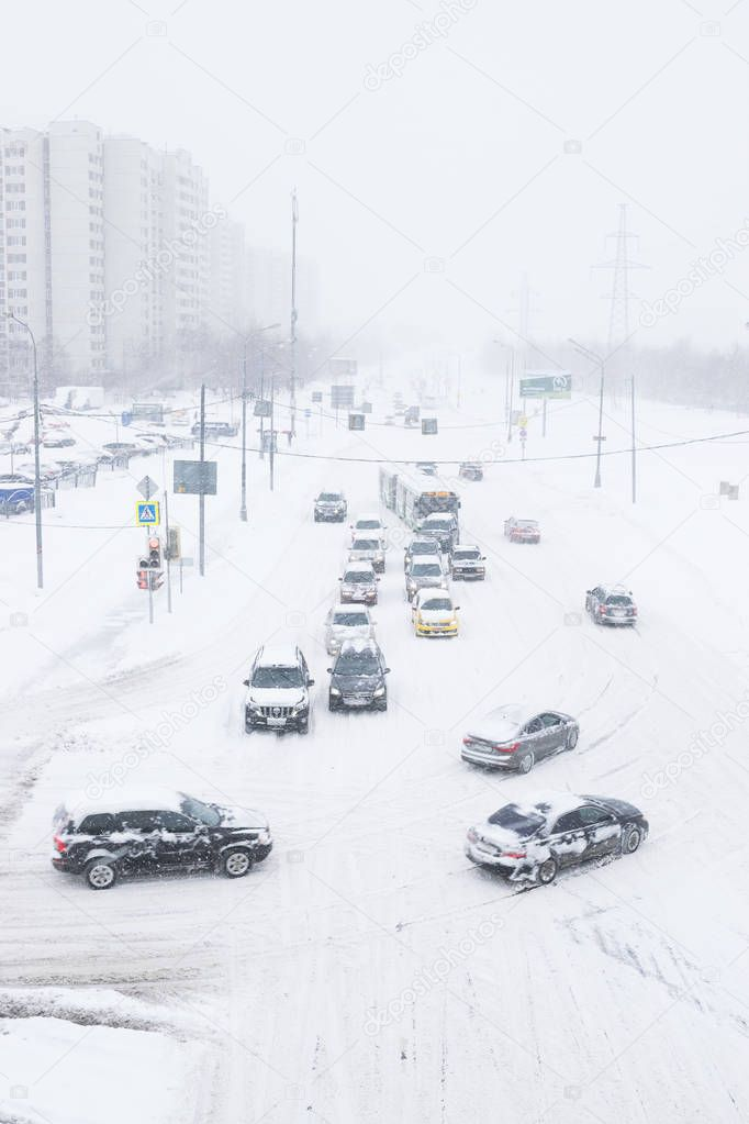 Heavy snowfall in the streets of Moscow.