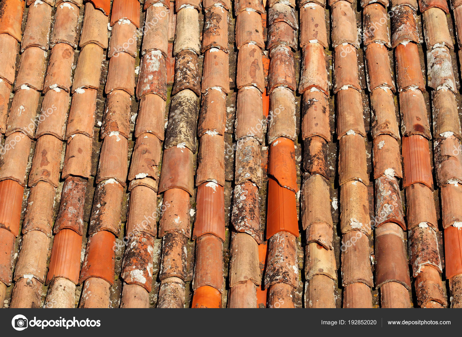 Part Of Tile On The Roof Of A House Building Closeup A Red Tiled